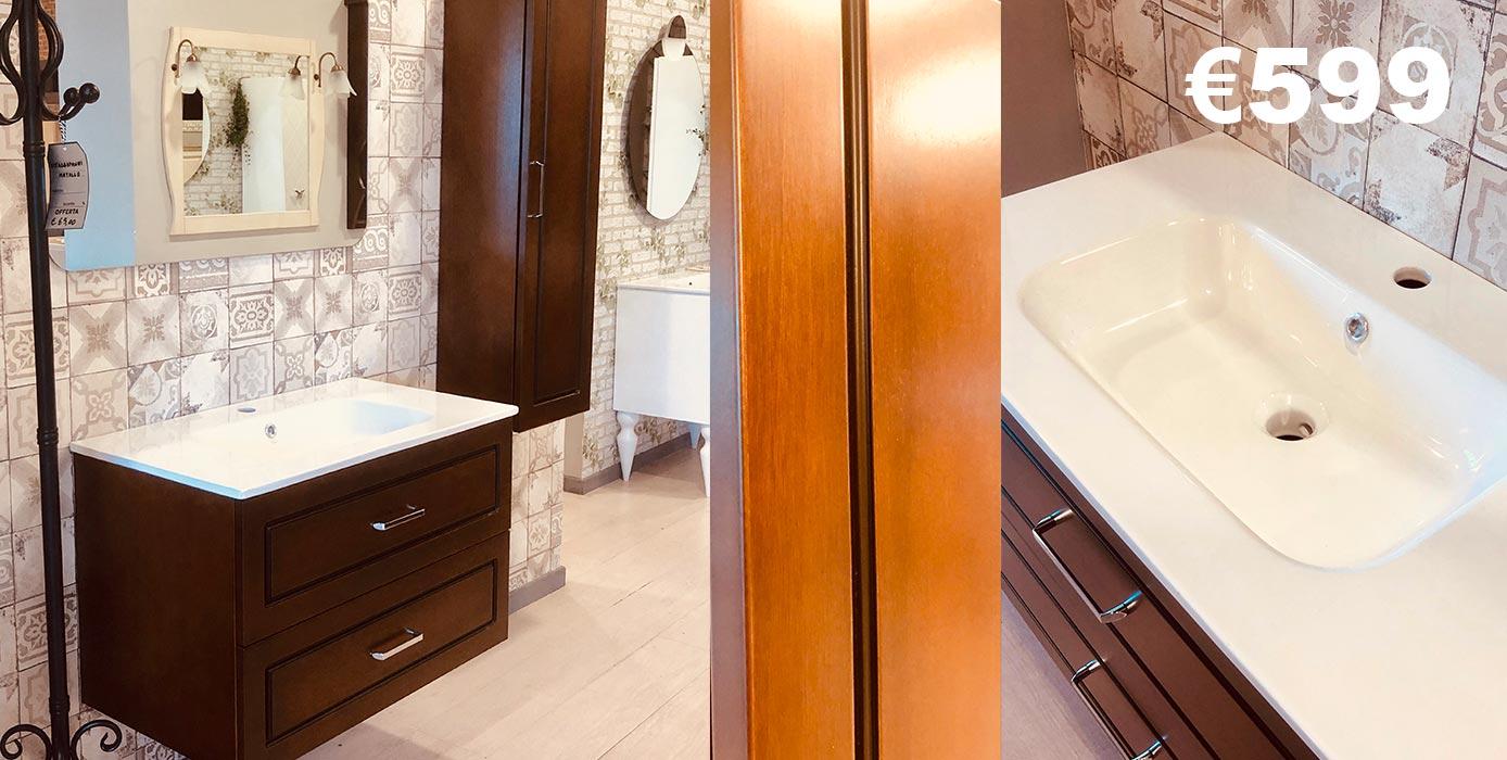 mobile bagno classico sospeso disponibile in tre colori, tinto noce, laccato bianco e tortora