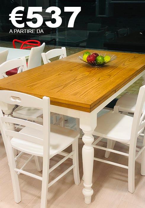 tavolo bicolore shabby chic allungabile disponibile in 3 misure