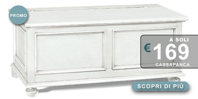 Cassapanca in legno bianco finitura shabby chic disponibile da 1 metro e 120 cm
