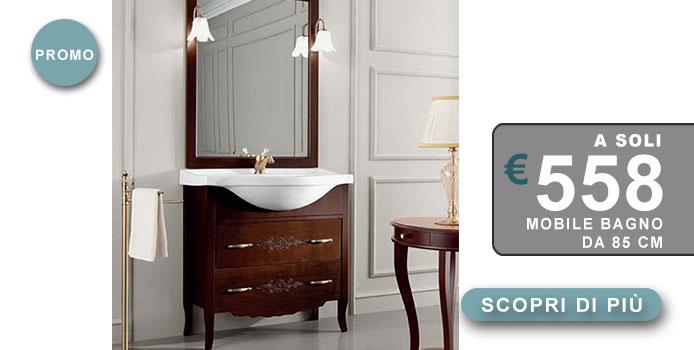 mobile bagno classico finitura noce con 2 cassetti in offerta completo come in foto miscelatore escluso