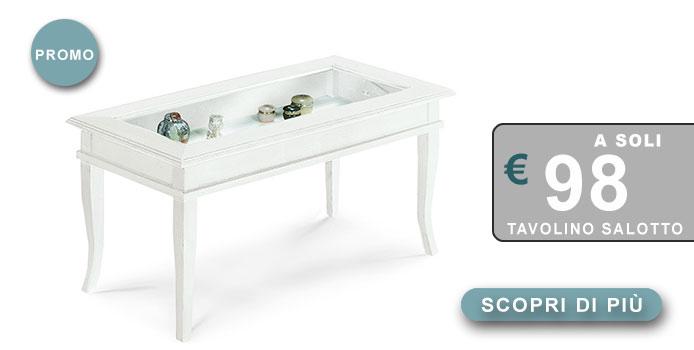 tavolino salotto shabby chic con contenitore in offerta