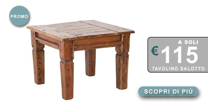 tavolino in massello stile rustico