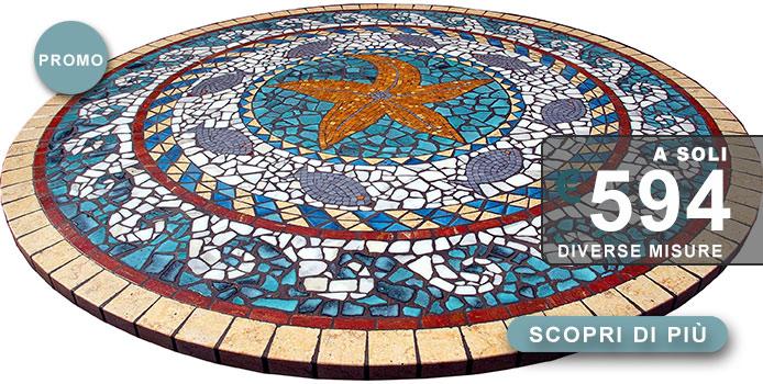 tavolo tondo in mosaico di produzione artigianale italiana