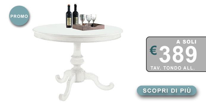 tavolo tondo allungabile laccato bianco opaco