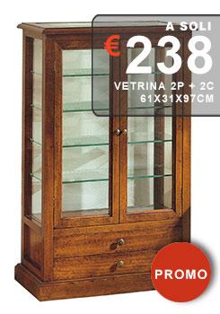 vetrina antica finitura noce con piani in vetro