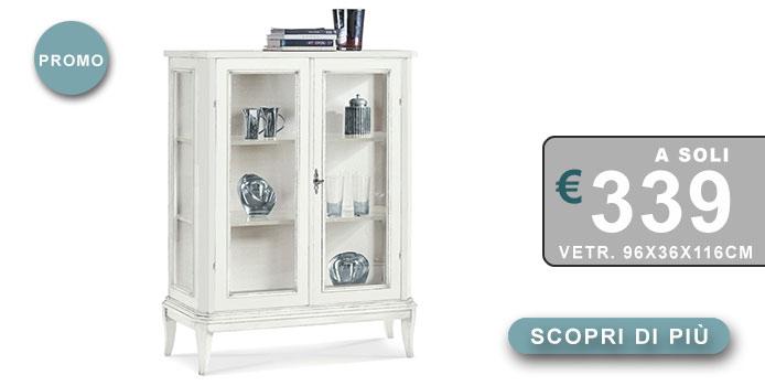 vetrina shabby chic bianca con 2 ante e 2 ripiani in legno
