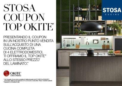 Pignataro offre in collaborazione con Stosa cucine un offerta unica, acquistando un cucina completa di 4 elettrodomenstici ricevi il top in Okite al prezzo del laminato