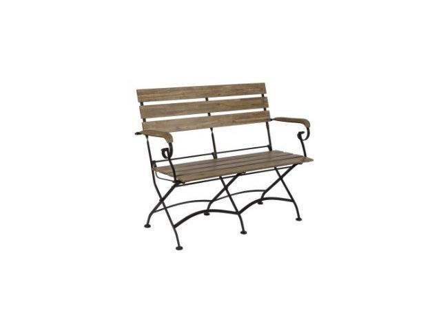 panchina in legno e metallo